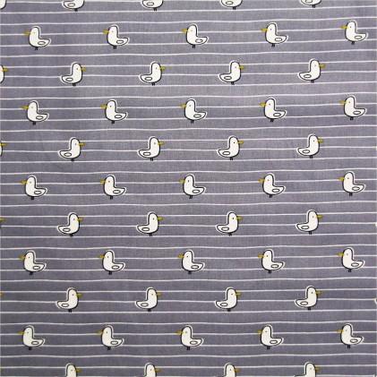 Tissu coton imprimé Mouette Gris