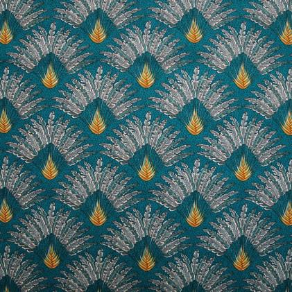 Tissu coton imprimé Oeko-Tex Madagascar  Bleu canard