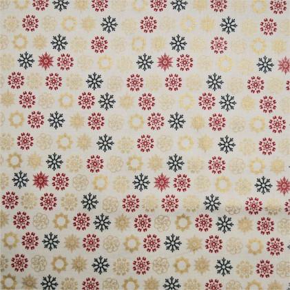 Tissu coton Noël Snowflakes Blanc / Or