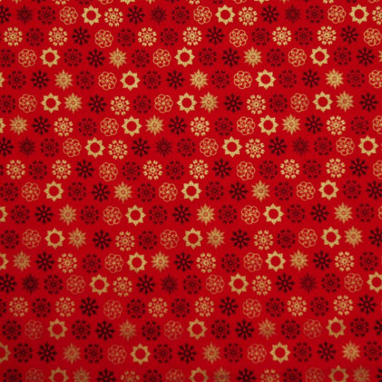 Tissu coton Noël Snowflakes Rouge / Or