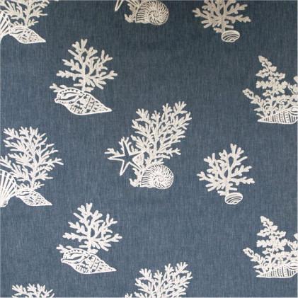 Toile de jean's imprimée Corail Bleu Jean's