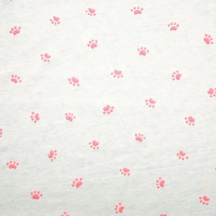 Tissu jersey Oeko-Tex Pattoune Blanc / Rose