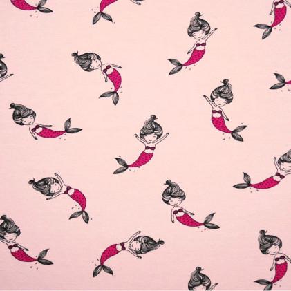 Tissu jersey Oeko-Tex Sirènes Rose
