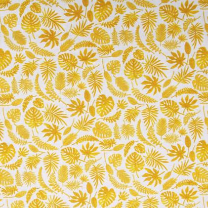 Tissu coton imprimé Mini Feuilles  Jaune