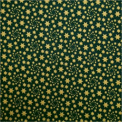 Tissu coton Noël Thalyss or Vert