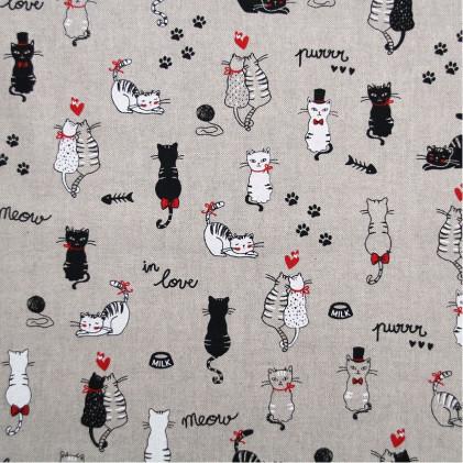 Tissu lin Oeko-Tex Cats Naturel