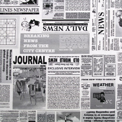 Tissu imprimé Oeko-Tex Newspaper Blanc / Noir