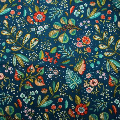 Tissu coton imprimé Oeko-Tex Ancolie  Bleu canard