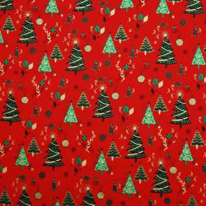 Tissu coton Noël Nova Rouge / Vert
