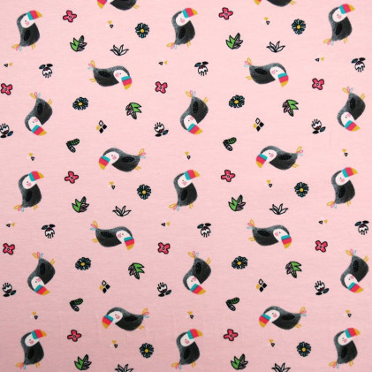 Tissu jersey toucans Rose