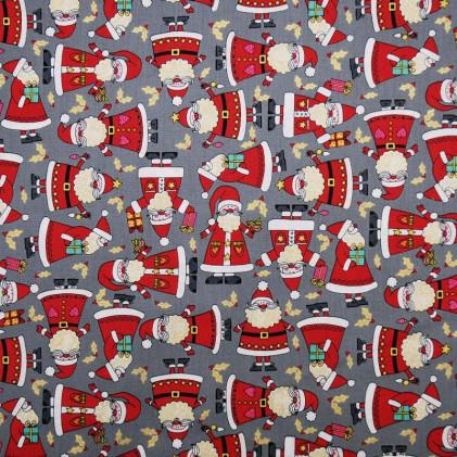Tissu patchwork Santa Gris