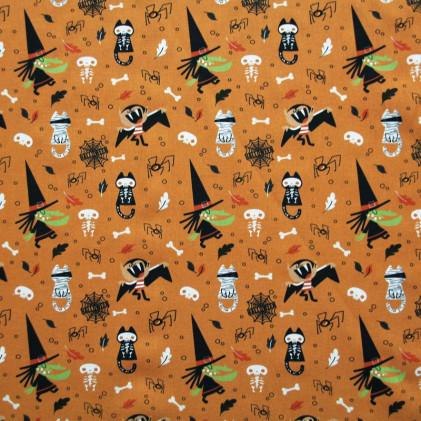 Tissu coton Halloween BIO Sorcières