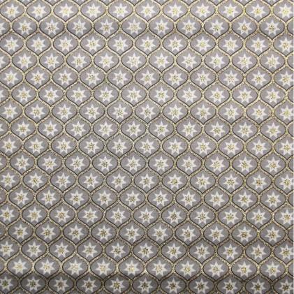 Tissu coton glitter imprimé Pampilles Beige