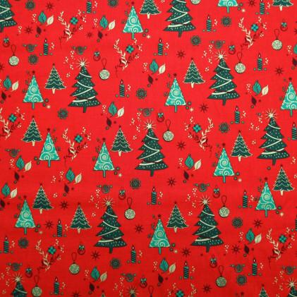 Tissu coton de Noël Chrismas tree Rouge