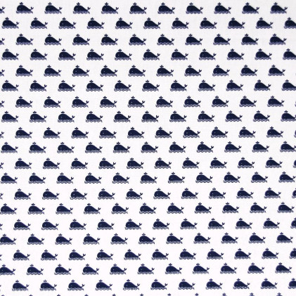 Tissu coton imprimé Wallis Blanc / Bleu marine