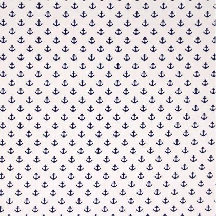 Tissu coton imprimé Adock Blanc / Bleu