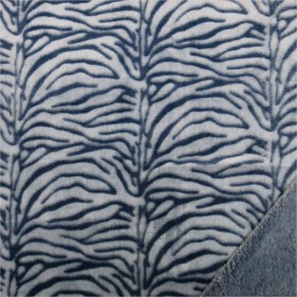 Tissu doudou Minkee Zèbra Bleu marine