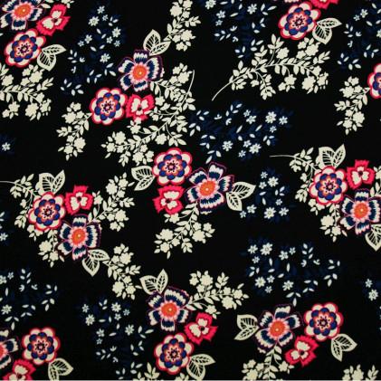 Tissu imprimé Fleoly Noir