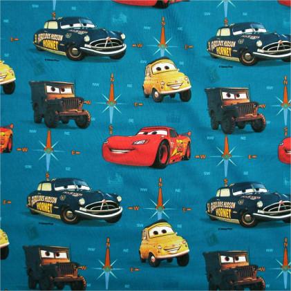 Tissu enfant Cars  Bleu canard
