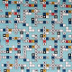Tissu coton imprimé Scrabble  Bleu ciel