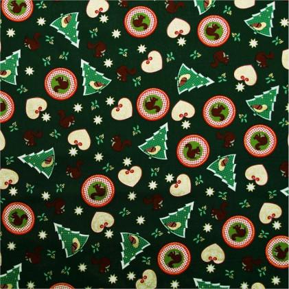 Tissu coton Noël Ecureuil  Vert sapin