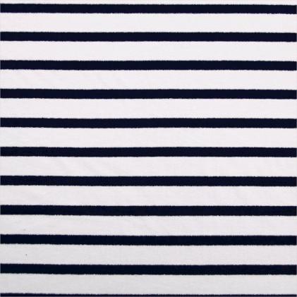 Tissu jersey Marinière Lurex  Blanc / Bleu marine