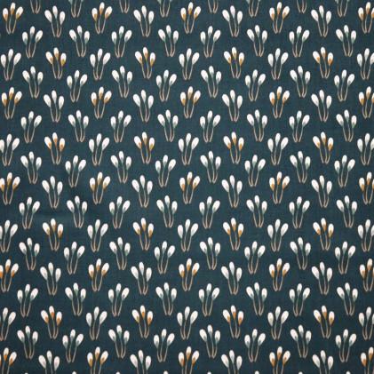 Tissu coton imprimé Oeko-Tex Paplami Vert foncé