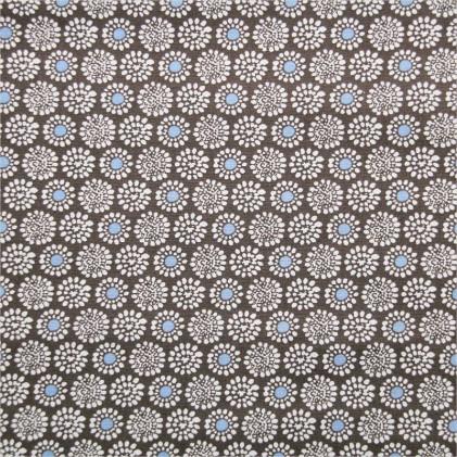 Tissu coton imprimé Ronda Gris / Bleu