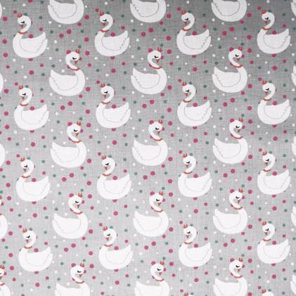 Tissu coton imprimé Cygne Eloise Gris / Blanc