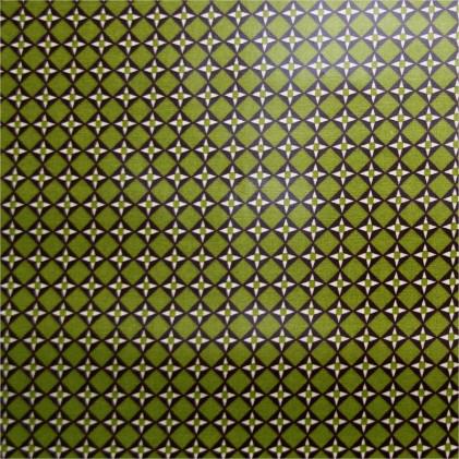 Tissu coton enduit Cubist Vert / Marron