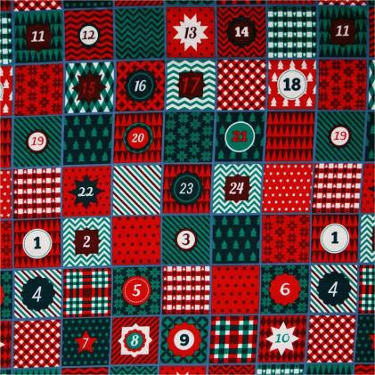 Tissu coton Noël Calendar Rouge / Vert