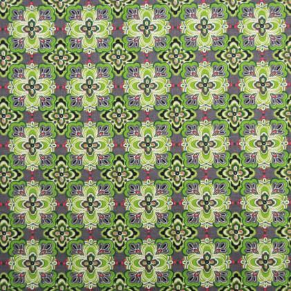 Tissu coton imprimé Oeko-Tex Daizy Vert