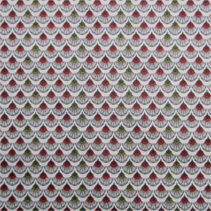 Tissu coton imprimé Risen Vert / Rouge