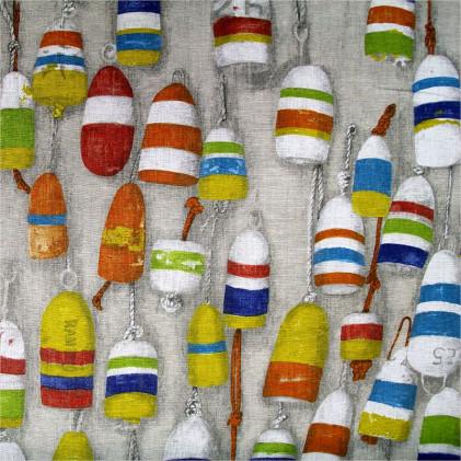 Tissu lin Bouées Multicolore