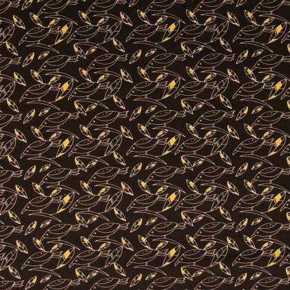 Tissu coton imprimé Oiseaux Marron