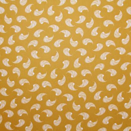 Tissu imprimé Plumette Jaune moutarde