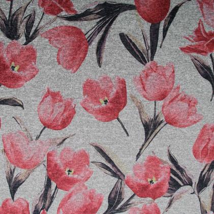 Tissu jersey effet maille Tulip Gris / Rouge