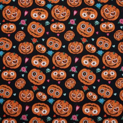 Tissu coton Halloween oeko-Tex Jack-o'-Lantern Noir