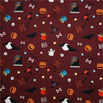 Tissu coton Halloween Oeko-Tex Trick or Treat Rouge lie de vin