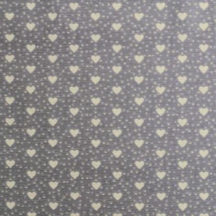 Tissu coton imprimé Coeurs Gris