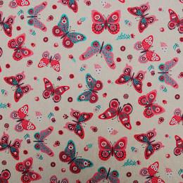 Tissu lin imprimé Butterfly