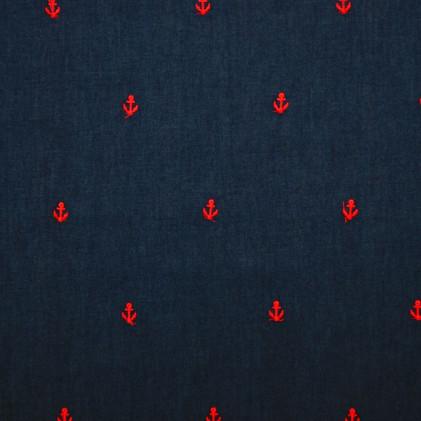 Tissu jean's brodé Ancre
