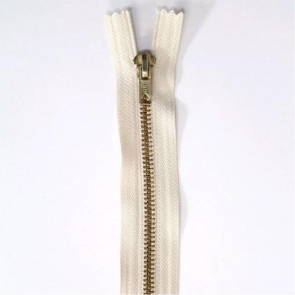 Fermeture Eclair non séparable laiton 18 cm Blanc cassé