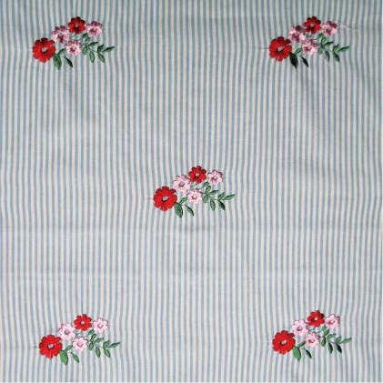 Tissu coton à rayures brodé Alsey Bleu / Rouge