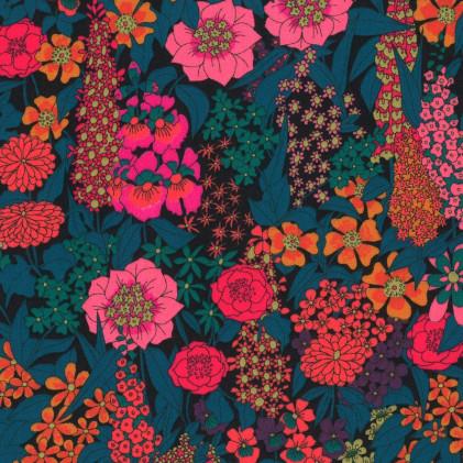 Tissu popeline liberty Ciara Bleu / Fuschia
