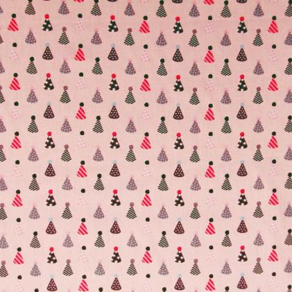 Tissu coton imprimé Party Hat Rose / Violet