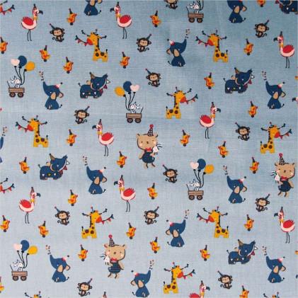 Tissu coton imprimé Animafête Bleu / Jaune