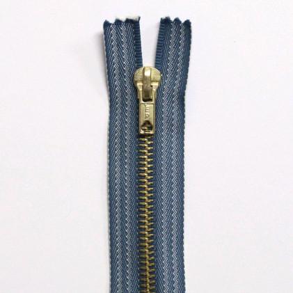 Fermeture Eclair métallique spécial jeans 6 cm Bleu Jean's délavé