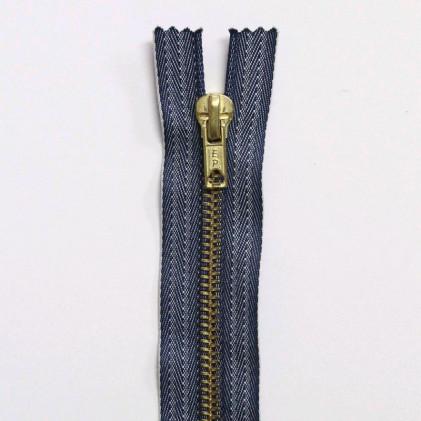 Fermeture Eclair métallique spécial jean's 15 cm Bleu Jean's Indigo