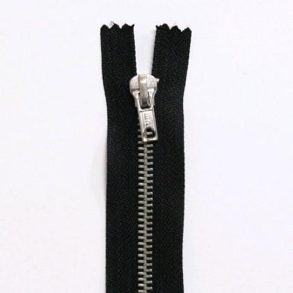 Fermeture Eclair métallique non séparable 20 cm Noir